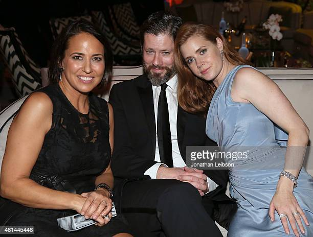 Marie Claires EditorinChief Anne Fulenwider Darren Le Gallo and actress Amy Adams attend The Weinstein Company Netflix's 2015 Golden Globes After...