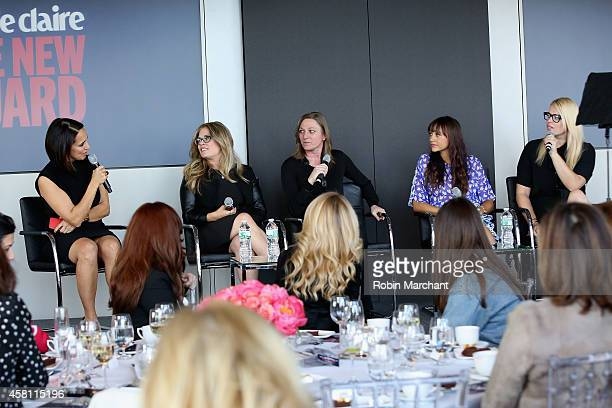 Marie Claire's EditorinChief Anne Fulenwider Screenwriter and director Jennifer Lee VP of Original Content Netflix Cindy Holland Rashida Jones and...
