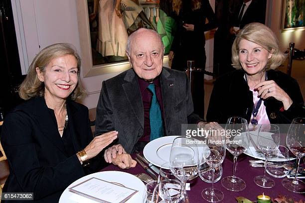 Marie Colin Pierre Berge and Blanche Buffet attend the Societe des Amis du Musee d'Art Moderne Dinner Party at the Musee d'Art Moderne on October 18...