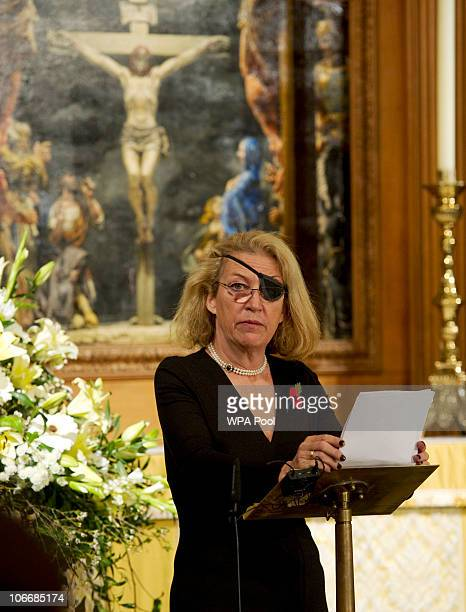 Marie Colvin of The Sunday Times gives the address during a service at St Bride's Church November 10 2010 in London England The service commemorated...