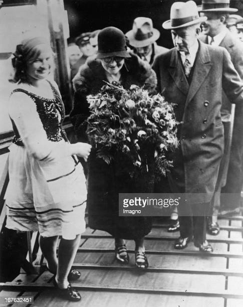 Marie Curie arrives in the habour of New York On the right side The american ambassador in London General Charles Gates Dawes Photograph October 24th...