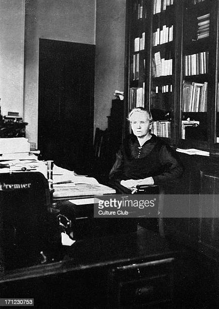 Marie Curie in her office at the Radium Institute Paris 1925 MC Polishborn French physicist and pioneer in radioactivity 7 November 1867 – 4 July 1934