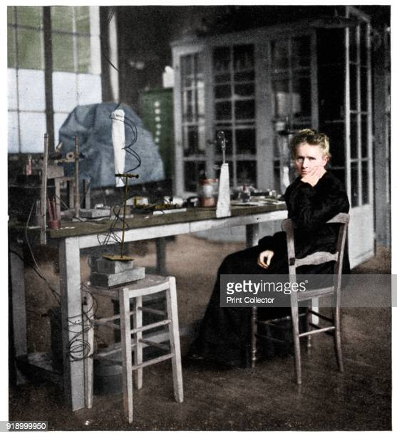 Marie Curie Polishborn French physicist c1920 Curie double Nobel Prize winner seated in her laboratory Artist Anon