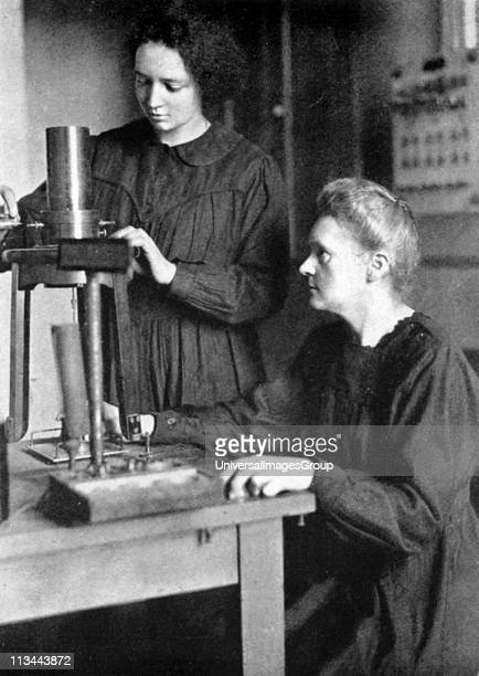 Marie Curie Polishborn French physicist in 1925 with her daughter Irene JoliotCurie nuclear physicist who worked as her mother's assistant at the...