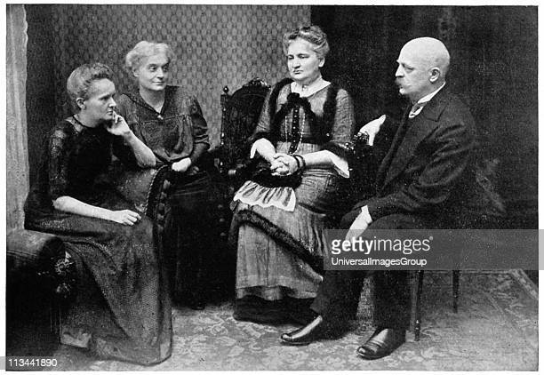 Marie CURIE Polishborn French physicist with her sisters Hela Szalay and Bronya Dluska and brother Joseph Sklodovski in Warsaw 1912