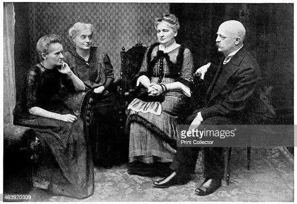 Marie Curie Polishborn French physicist with members of her family in Warsaw Poland 1912 Marie Curie with her sisters Hela Szalay and Bronya Dluska...