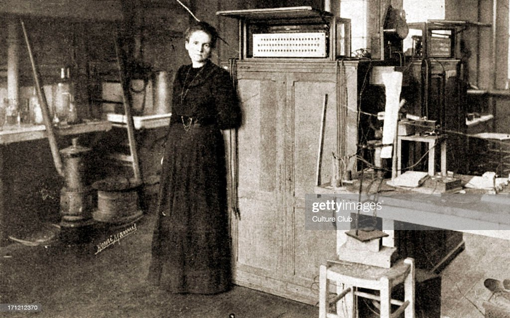 Marie Curie - portrait of the French scientist, pioneer in the fields of radiation, radioactivity and radiology, working in her laboratory in Sorbonne, Paris 1898.