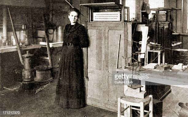 Marie Curie portrait of the French scientist pioneer in the fields of radiation radioactivity and radiology working in her laboratory in Sorbonne...
