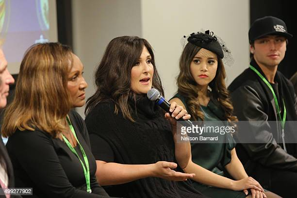 Marie Da Silva Ricki Lake Megan Nicole and Wesley Stromberg speak onstage at the launch of #TREATMENTFORALL at the Facebook Office on November 30...