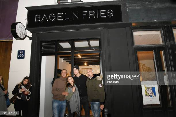 Marie de Fleurieu actor Samy Naceri Ines Julian Naceri and Bibi Naceri attend 'Bagel N Fries' Restaurant Opening Party on November 28 2017 in Paris...
