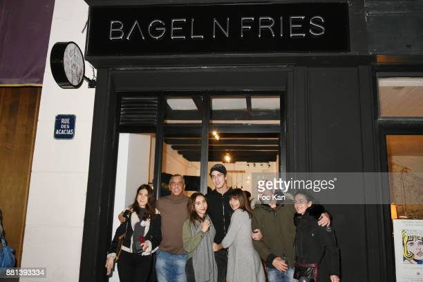 Marie de Fleurieu actor Samy Naceri Ines Julian Naceri his mother Bibi Naceri and his guest attend 'Bagel N Fries' Restaurant Opening Party on...