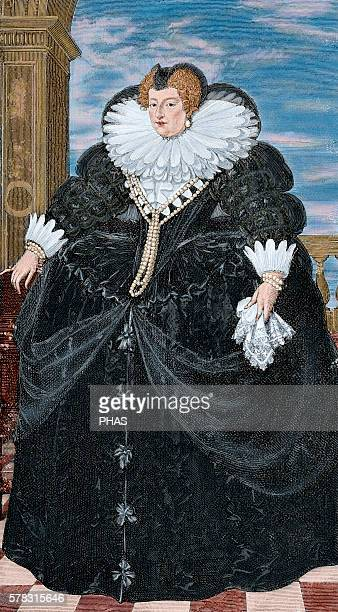 Marie de' Medici Queen of France as the second wife of King Henry IV of France of the House of Bourbon Portrait Engaving from a painting of F Porbus...