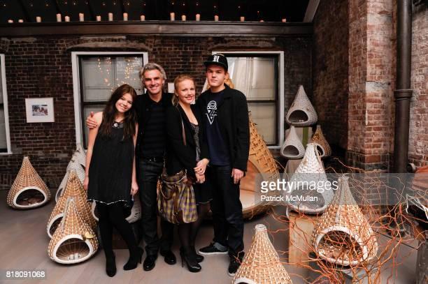 Marie Dekeyser, Bobby Dekeyser, Carolin Dekeyser and Yannick Dekeyser attend Opening of DEDON'S New York Showroom, Featuring Works by BRUCE WEBER at...