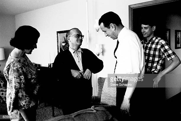 Marie Dewey Truman Capote and Investigator Alvin Dewey in Kansas for filming of In Cold Blood