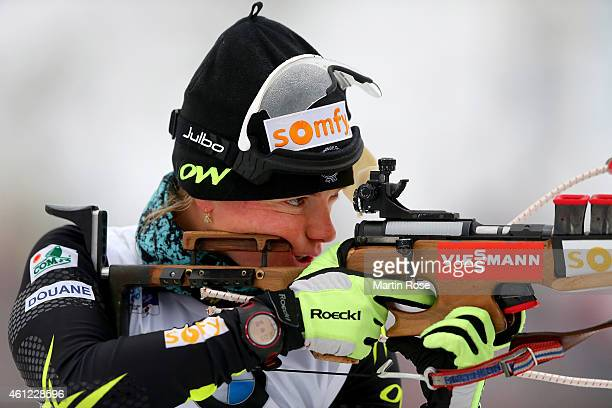 Marie Dorin Habert of France at the zeoring for the Women's 7.5 km sprint of the BMW World Cup on January 9, 2015 in Oberhof, Germany.