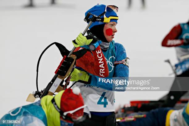 Marie Dorin Habert of France competes during the Biathlon Men's and Women's Pursuit at Alpensia Biathlon Centre on February 12, 2018 in...
