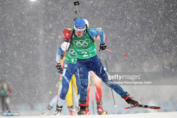 Marie Dorin Habert of France competes during the Biathlon Women's Relay at Alpensia Biathlon Centre on February 22 2018 in Pyeongchanggun South Korea