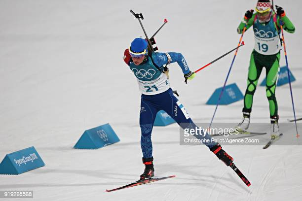 Marie Dorin Habert of France competes during the Biathlon Women's 12.5km Mass Start at Alpensia Biathlon Centre on February 17, 2018 in...