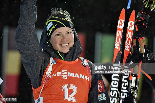 Marie Dorin Habert of France competes during the IBU Biathlon World Cup Men's and Women's Pursuit on January 9, 2016 in Ruhpolding, Germany.