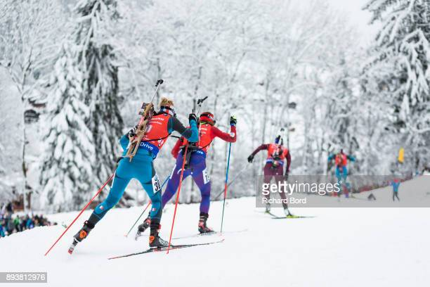Marie Dorin Habert of France competes during the IBU Biathlon World Cup Women's Pursuit on December 16 2017 in Le Grand Bornand France