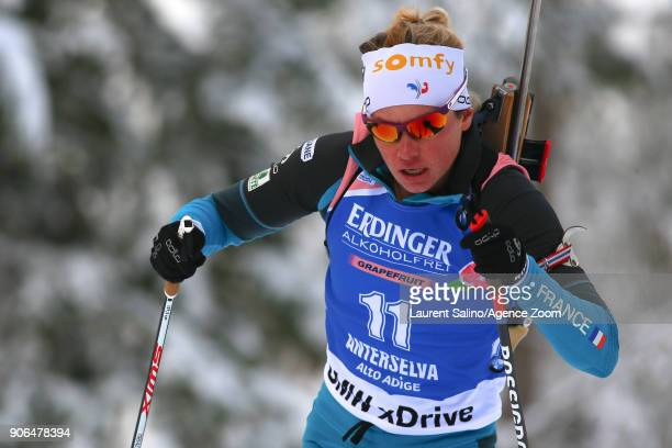 Marie Dorin Habert of France competes during the IBU Biathlon World Cup Women's Sprint on January 18, 2018 in Antholz-Anterselva, Italy.