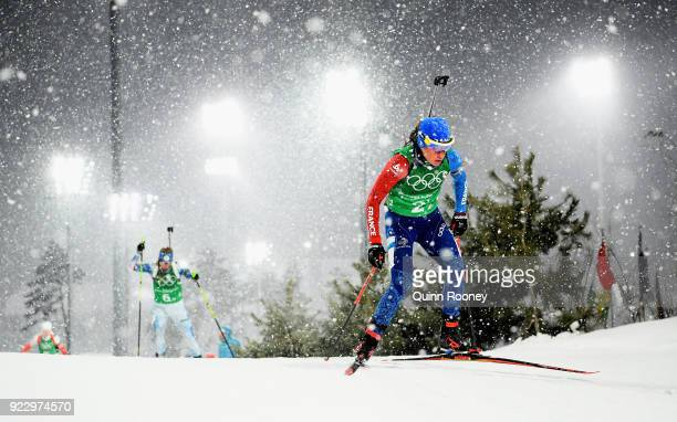 Marie Dorin Habert of France competes during the Women's 4x6km Relay on day 13 of the PyeongChang 2018 Winter Olympic Games at Alpensia Biathlon...