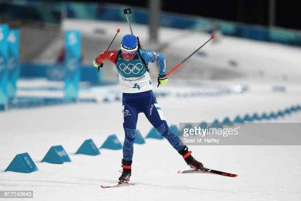 Marie Dorin Habert of France competes during the Women's Biathlon 10km Pursuit on day three of the PyeongChang 2018 Winter Olympic Games at Alpensia...