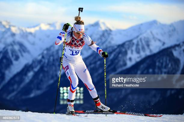 Marie Dorin Habert of France competes in the Women's 15 km Individual during day seven of the Sochi 2014 Winter Olympics at Laura Crosscountry Ski...