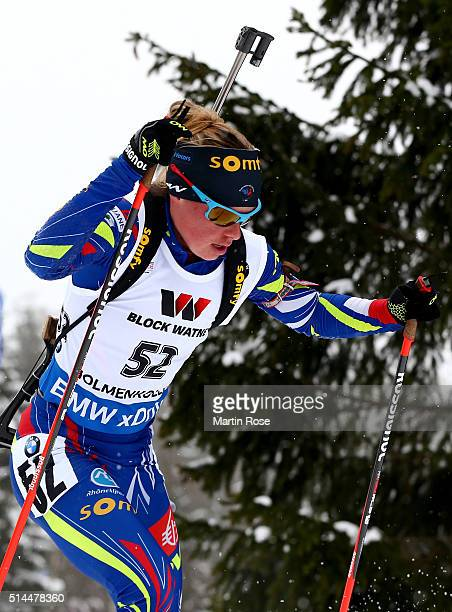 Marie Dorin Habert of France competes in the women's 15km individual during day six of the IBU Biathlon World Championships at Holmenkollen on March...