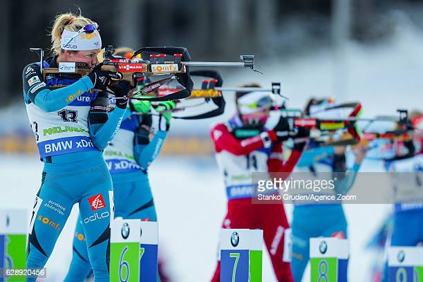 Marie Dorin Habert of France in action during the IBU Biathlon World Cup Men's and Women's Pursuit on December 10 2016 in Pokljuka Slovenia