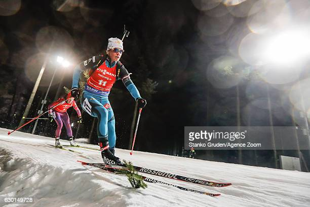 Marie Dorin Habert of France in action during the IBU Biathlon World Cup Men's and Women's Pursuit on December 17, 2017 in Nove Mesto na Morave,...