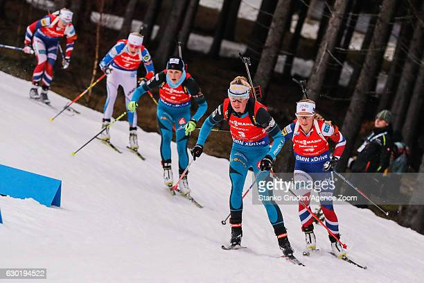 Marie Dorin Habert of France in action during the IBU Biathlon World Cup Men's and Women's Mass Start on December 18 2016 in Nove Mesto na Morave...
