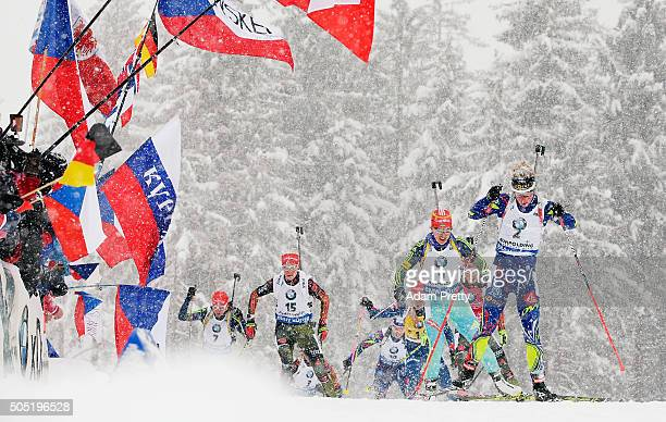 Marie Dorin Habert of France in action during the Women's 125km Biathlon race of the Ruhpolding IBU Biathlon World Cup on January 16 2016 in...