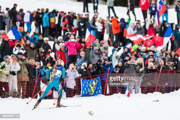 Marie Dorin Habert of France performs during the IBU Biathlon World Cup Women's Sprint on December 14, 2017 in Le Grand Bornand, France.