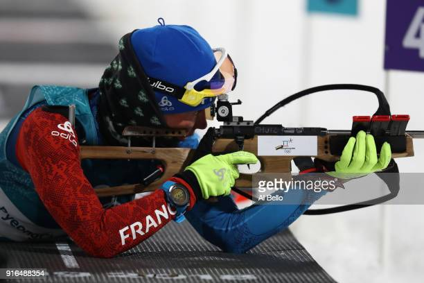 Marie Dorin Habert of France practices ahead of the Women's Biathlon 75km Sprint on day one of the PyeongChang 2018 Winter Olympic Games at Alpensia...