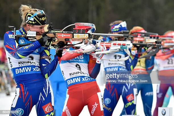 Marie Dorin Habert of France takes 2nd place during the IBU Biathlon World Cup Men's and Women's Mass Start on January 10 2016 in Ruhpolding Germany