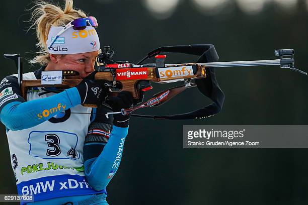 Marie Dorin Habert of France takes 2nd place during the IBU Biathlon World Cup Men's and Women's Relay on December 11 2016 in Pokljuka Slovenia