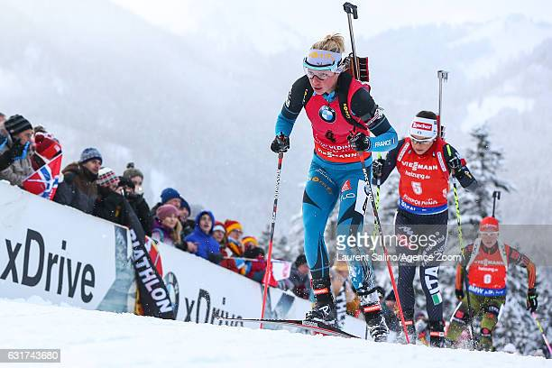 Marie Dorin Habert of France takes 3rd place during the IBU Biathlon World Cup Men's and Women's Pursuit on January 15 2017 in Ruhpolding Germany