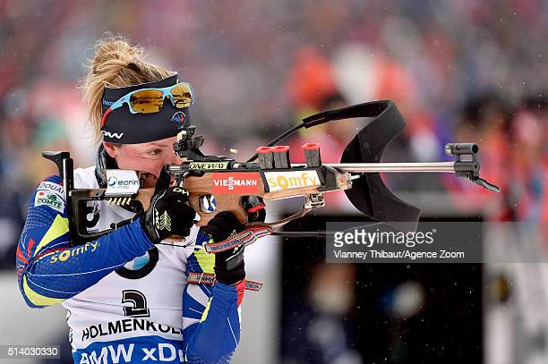 Marie Dorin Habert of france wins the bronze medal during the IBU Biathlon World Championships Men's and Women's Pursuit on March 6 2016 in Oslo...
