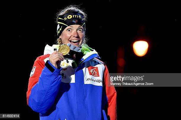 Marie Dorin Habert of France wins the gold medal during the IBU Biathlon World Championships Women's 15km Individual on March 9 2016 in Oslo Norway