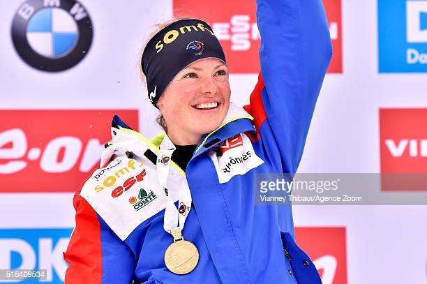 Marie Dorin Habert of france wins the gold medal during the IBU Biathlon World Championships Men's and Women's Mass Start on March 13, 2016 in Oslo,...