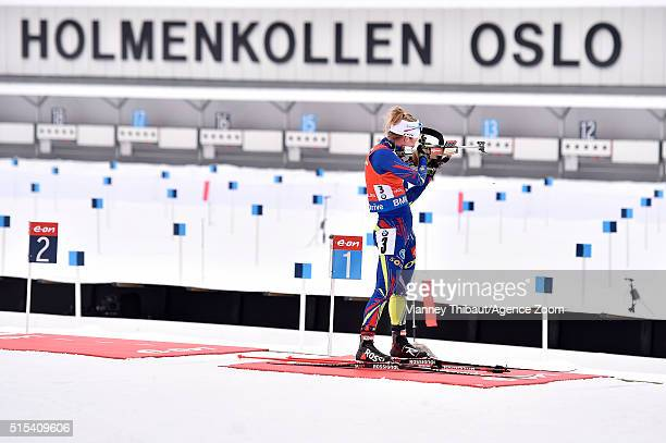 Marie Dorin Habert of france wins the gold medal during the IBU Biathlon World Championships Men's and Women's Mass Start on March 13 2016 in Oslo...