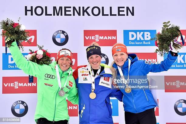 Marie Dorin Habert of france wins the gold medal Laura Dahlmeier of Germany wins the silver medal Kaisa Makarainen of Finland wins the bronze medal...