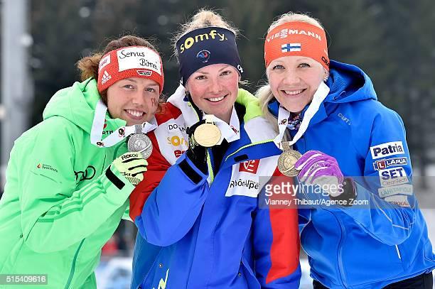Marie Dorin Habert of france wins the gold medal, Laura Dahlmeier of Germany wins the silver medal, Kaisa Makarainen of Finland wins the bronze medal...