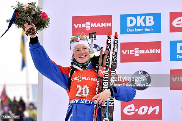 Marie Dorin Habert of france wins the silver medal competes during the IBU Biathlon World Championships Men's and Women's Sprint on March 5 2016 in...
