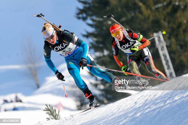 Marie Dorin Habert of France wins the silver medal during the IBU Biathlon World Championships Mixed Relay on February 9 2017 in Hochfilzen Austria