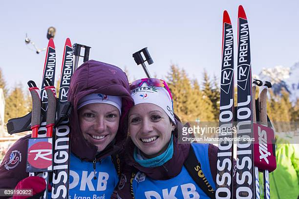 Marie Dorin of France Anais Chevalier of France celebrate after the 15 km women's Individual on January 19 2017 in AntholzAnterselva Italy