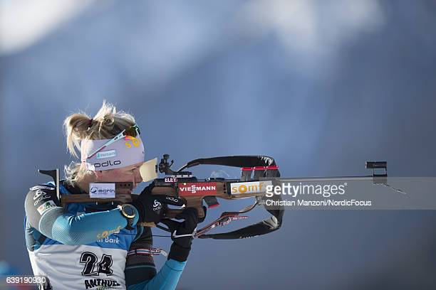 Marie Dorin of France competes during the 15 km women's Individual on January 19 2017 in AntholzAnterselva Italy
