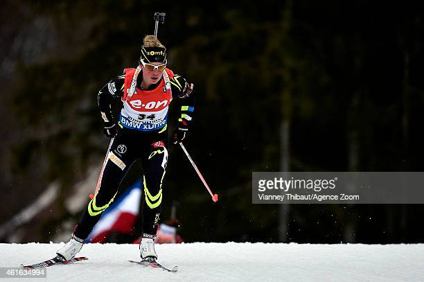 Marie Dorin-Habert of France competes during the IBU Biathlon World Cup Women's Sprint on January 16, 2015 in Ruhpolding, Germany.