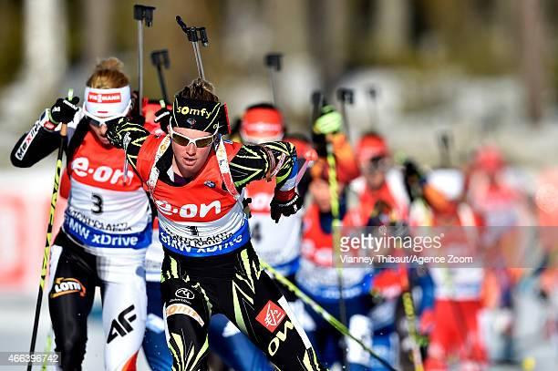 Marie Dorin-Habert of France competes during the IBU Biathlon World Championships Men's and Women's Mass Start on March 15, 2015 in Kontiolahti,...